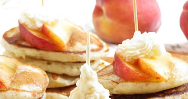 Peaches & Cream Mini Pancakes Recipe via Kara's Party Ideas | KarasPartyIdeas.com