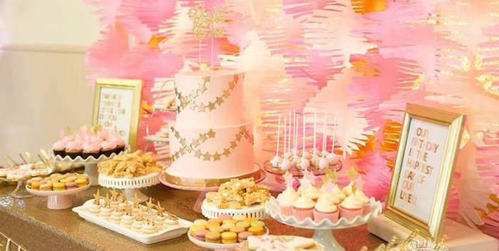Kara S Party Ideas Pink Gold Twinkle Star Party Kara S