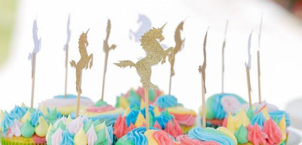 Unicorn Cupcake Toppers from a Rainbow Unicorn Birthday Party via Kara's Party Ideas KarasPartyIdeas.com (1)