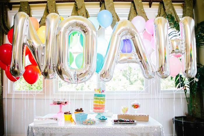 dessert table from a rainbows balloons confetti birthday party via karas party ideas