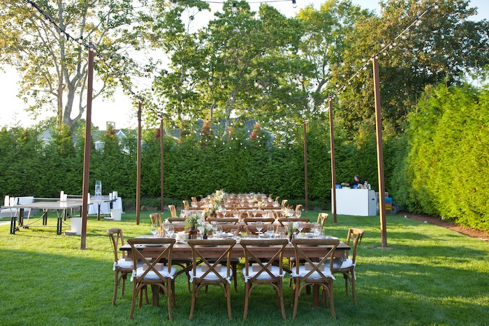 Outdoor Light Canopy Placed over the Dining Tables at a Rustic Outdoor Birthday Soiree via Karau0027s & Karau0027s Party Ideas » Outdoor Light Canopy Placed over the Dining ...