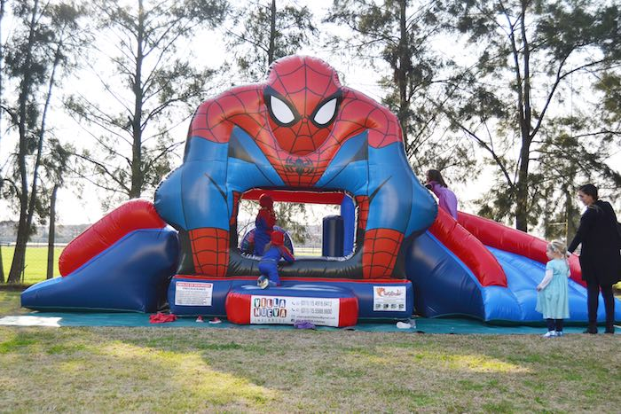Karas Party Ideas Bounce House from a Spiderman Birthday Party