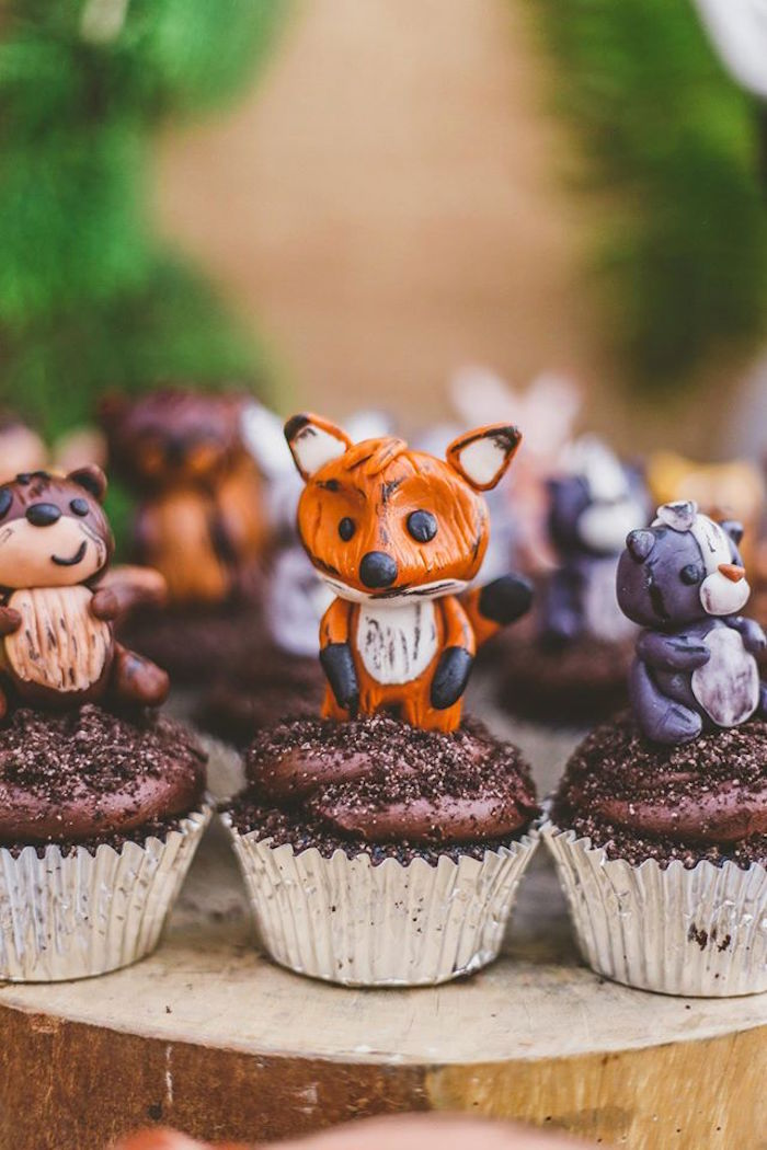 Kara S Party Ideas Woodland Animal Cupcakes From A Starry