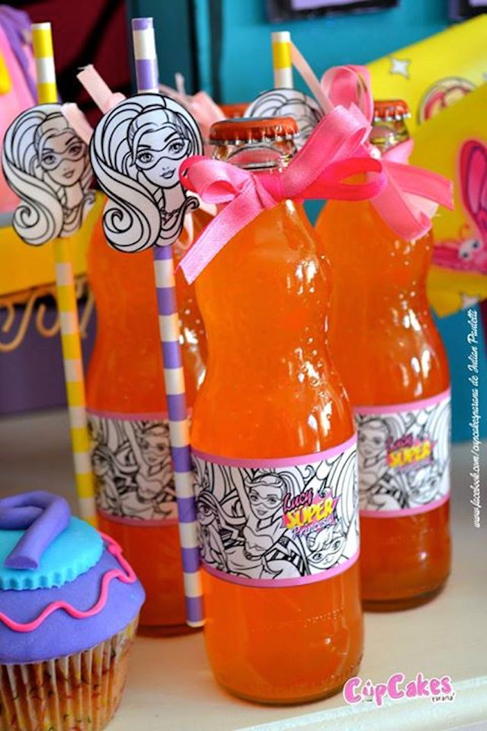 Kara S Party Ideas Drinks From A Superhero Barbie Themed