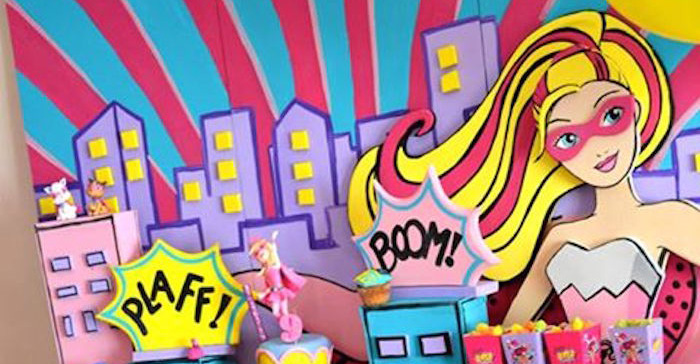 Kara S Party Ideas Super Barbie Themed Birthday Party