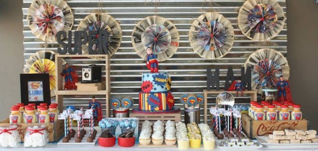 Dessert Table from a Superman Birthday Party via Kara's Party Ideas KarasPartyIdeas.com (2)