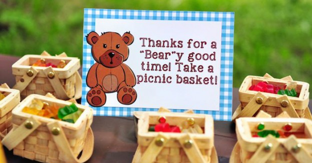 Picnic Basket Favors from a TTeddy Bear Picnic Party via Kara's Party Ideas | KarasPartyIdeas.com (1)