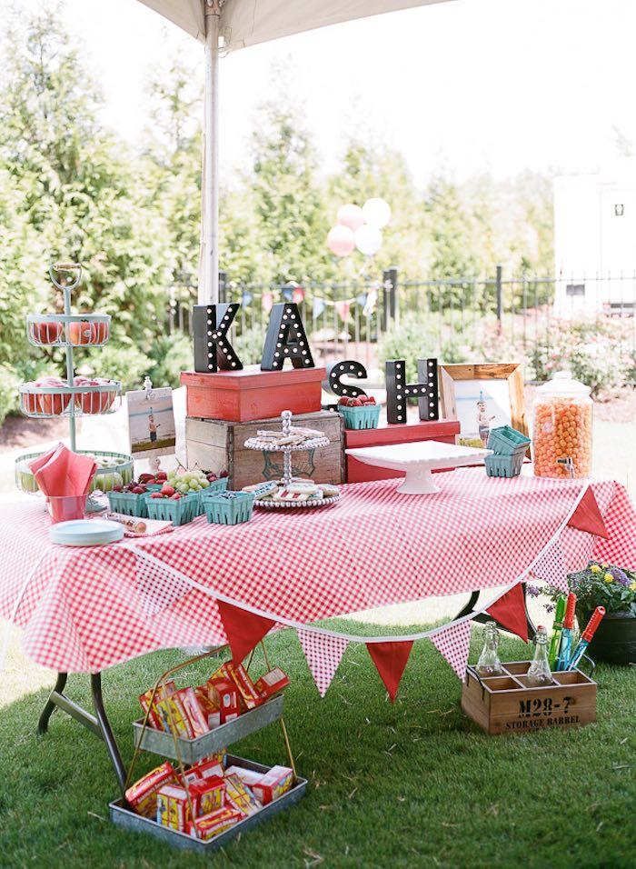 Kara S Party Ideas Sweet Table At A Vintage County Fair