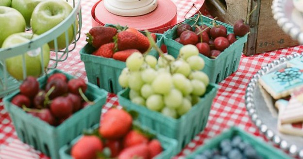 Berry Filled Berry Baskets from a Vintage County Fair + Carnival 1st Birthday Party via Kara's Party Ideas | KarasPartyIdeas.com (3)