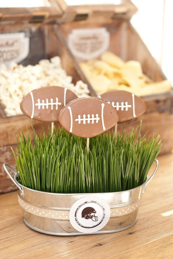 Football Macarons on Sticks at a Vintage Football Party via Kara's Party Ideas KarasPartyIdeas.com (17)