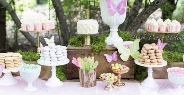 Close-up view of a dessert table from a Woodland Butterfly Birthday Party via Kara's Party Ideas | KarasPartyIdeas.com (2)