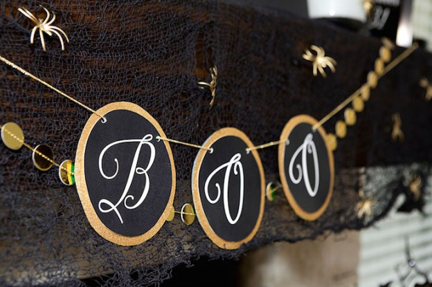 Boo Banner from Glam Black and Gold Halloween Mantel Decor Ideas + Free Printables via Kara's Party Ideas l KarasPartyIdeas.com #halloween #fireplacedecor (30)