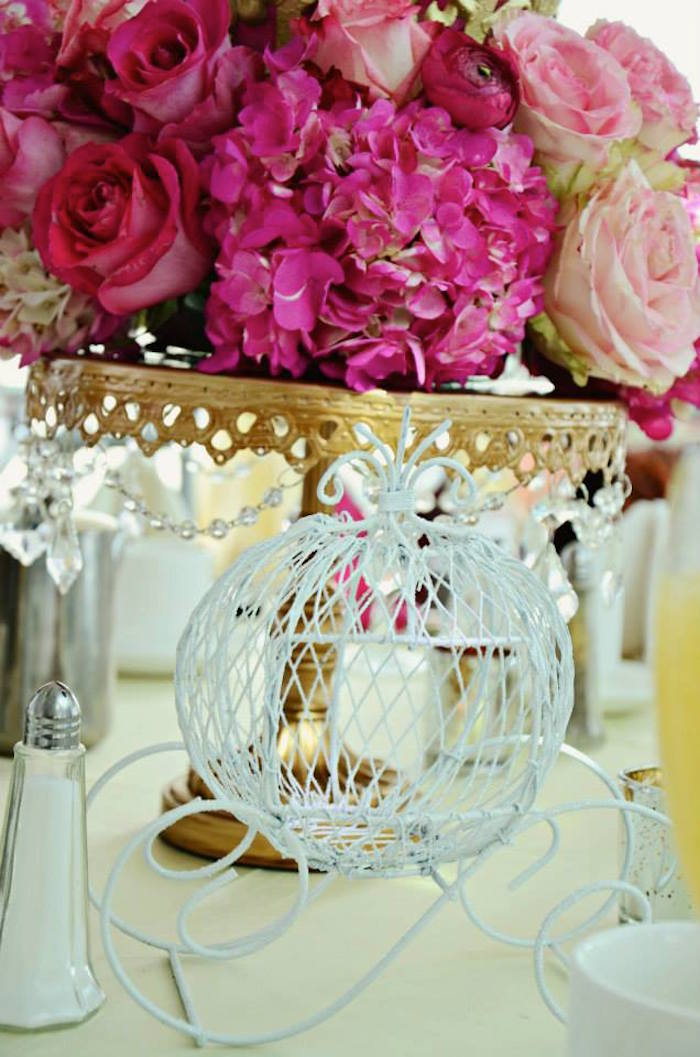 Cinderella Table Centerpiece At A Fairytale Princess Baby Shower On  KarasPartyIdeas.com #fairytale #