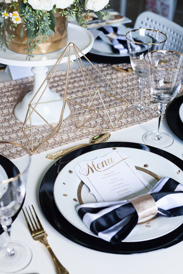 Black White And Gold Table Setting - Home Decor