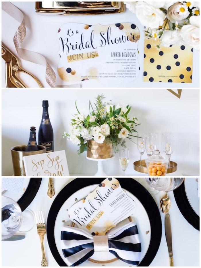 Black White Gold Geometric Bridal Shower Via Kara S Party Ideas Karaspartyideas
