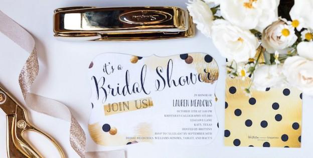 invitation misc items from a black white gold geometric bridal shower via karas