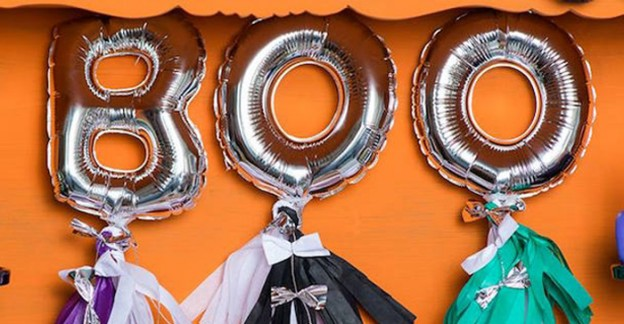 Mini Mylar Letter Balloons from a Boo'Ya Colorful Halloween Party via Kara's Party Ideas | KarasPartyIdeas.com (1)