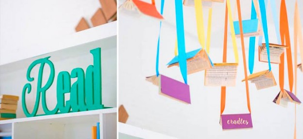 Hanging Books from a Bookworm 1st Birthday Party via Kara's Party Ideas | KarasPartyIdeas.com (1)