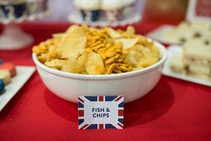 Snacks Fish Chips From A British Style Royal Prince Party Via Karas