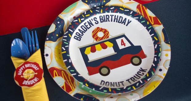 Place Setting from a Donut Truck Birthday Party via Kara's Party Ideas! KarasPartyIdeas.com (2)