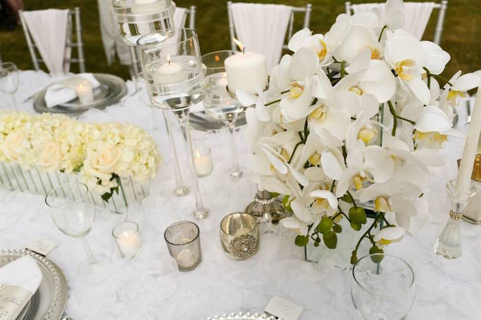 Top View Of A Dining Tablescape From An Elegant White Outdoor Dinner Party  Via Karau0027s