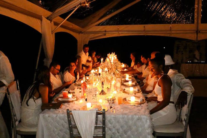 Kara S Party Ideas Dinner Guest At An Elegant White Outdoor