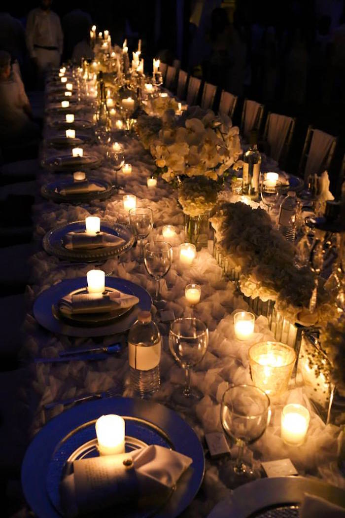 Lit Up Dining Table From An Elegant White Outdoor Dinner Party Via Karau0027s Party  Ideas