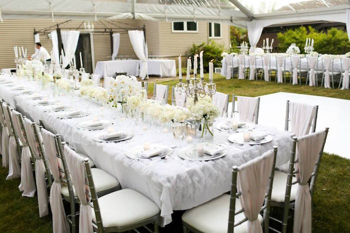 Kara S Party Ideas Dining Tables From An Elegant White Outdoor