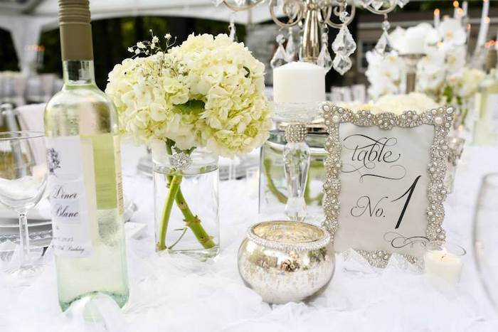 Kara 39 s party ideas florals centerpieces from an elegant for All white party decoration ideas