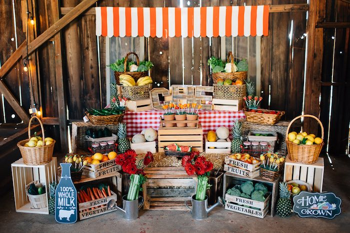 Karas Party Ideas Farmers Market Stand Main Table From