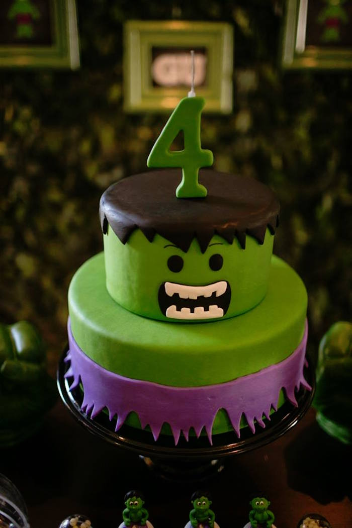 Kara S Party Ideas Cake From An Incredible Hulk Themed