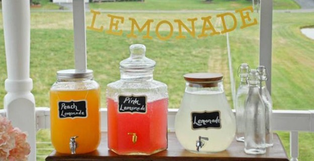 Lemonade Filled Canisters from a Lemonade Stand Birthday Party via Kara's Party Ideas KarasPartyIdeas.com (1)
