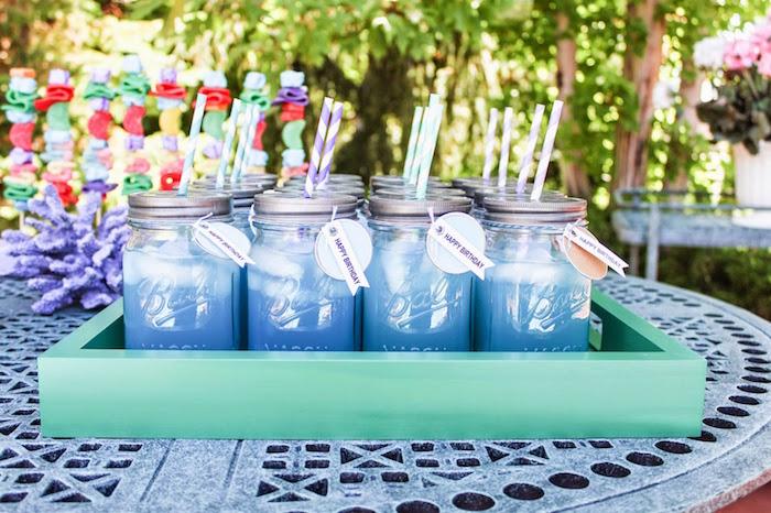 Mason Jar Drinks From A Little Mermaid Themed Birthday Party Via Karas Ideas