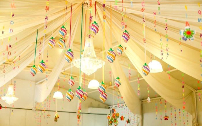 Ceiling Canopy from a Matryoshka Doll Birthday Party via Kara's Party Ideas  | KarasPartyIdeas.com