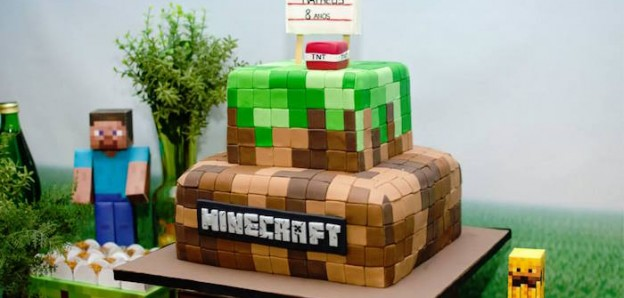 Cake from a Minecraft Birthday Party via Kara's Party Ideas | KarasPartyIdeas.com (2)