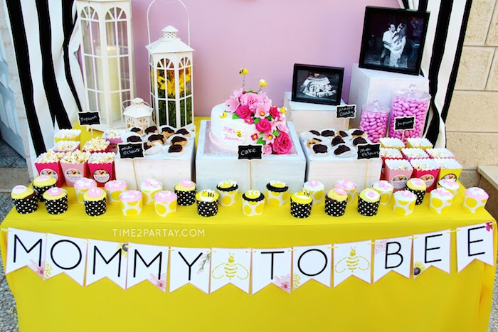 Dessert Table From A Mommy To Bee Themed Baby Shower Via Karas Party Ideas