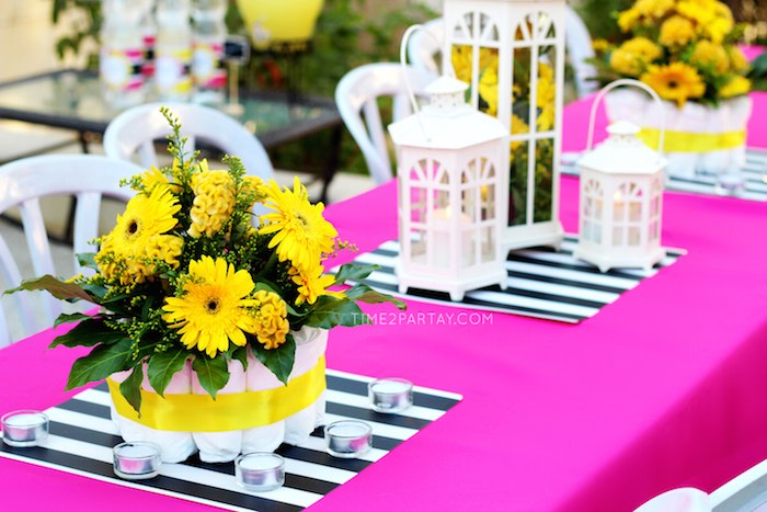 Table Centerpieces From A Mommy To Bee Themed Baby Shower Via Karas Party Ideas