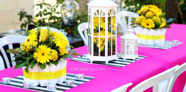 Dining Tablescape from a Mommy to Bee Themed Baby Shower via Kara's Party Ideas | KarasPartyIdeas.com (2)