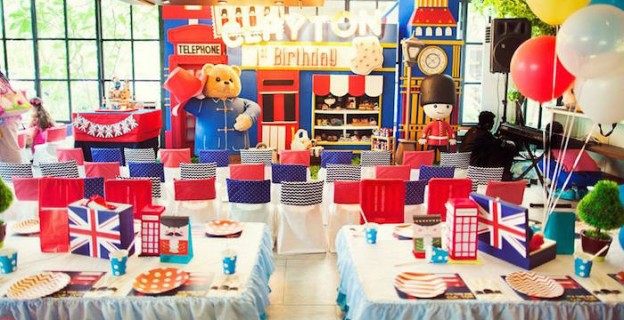 Partyscape from a Paddington Bear + London Themed Birthday Party via Kara's Party Ideas KarasPartyIdeas.com (1)