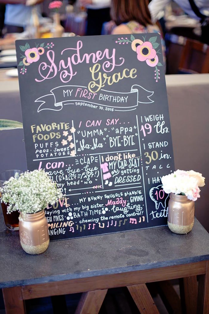 Kara S Party Ideas First Birthday Board From A Pink Gold