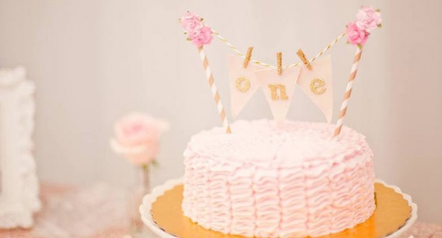 Ruffle Cake from a Pink + Gold Bohemian Dohl Birthday Party via Kara's Party Ideas | KarasPartyIdeas.com (1)