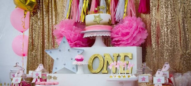 Sweet Table from a Pink & Gold Twinkle Star Birthday Party via Kara's Party Ideas | KarasPartyIdeas.com (1)