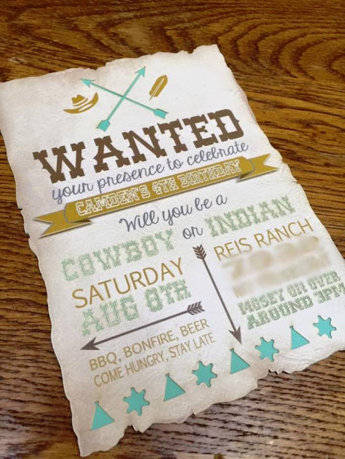 Karas Party Ideas Invitation from a Rustic Cowboys Indians – 31 Party Invite