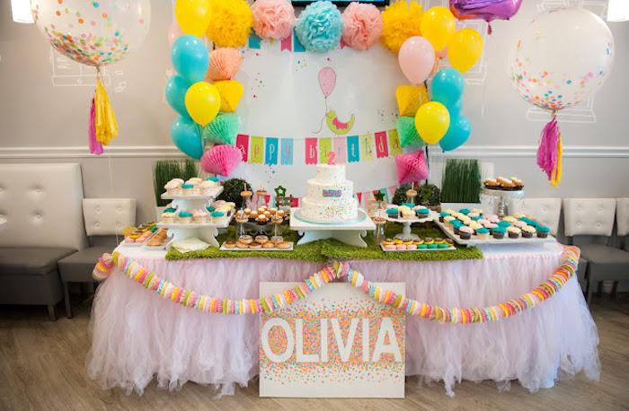 sweet table from a sprinkles confetti birthday party via karas party ideas karaspartyideas