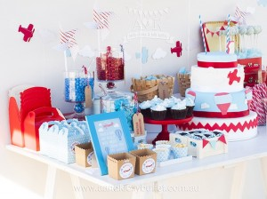 Sweet Table from an Up, Up & Away 1st Birthday Party via Kara's Party Ideas KarasPartyIdeas.com (8)