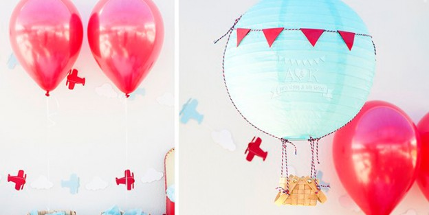 Hot Air Balloon Paper Lantern + Decor from an Up, Up & Away 1st Birthday Party via Kara's Party Ideas KarasPartyIdeas.com (2)