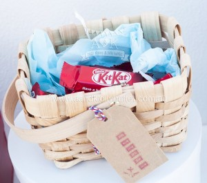 Basket full of Kit Kats from an Up, Up & Away 1st Birthday Party via Kara's Party Ideas KarasPartyIdeas.com (21)