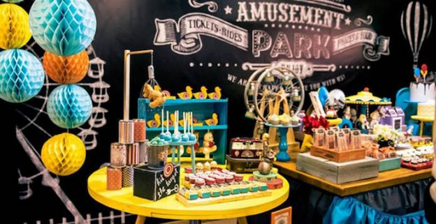 Sweet Table Display from a Vintage Carnival + Amusement Park Party via Kara's Party Ideas | KarasPartyIdeas.com (1)