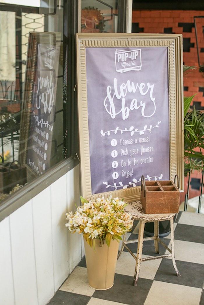 Kara\'s Party Ideas Flower Bar from a Vintage Hipster Pop Up Flower ...