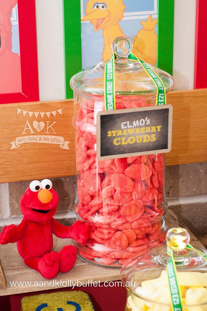 Elmos Strawberry Cloud Candy From A Vintage Sesame Street Birthday Party Via Karas Ideas